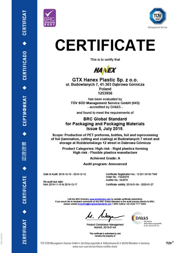 Hanex - Certyfikacja systemu zapewnienia jakości wg BRC IoP